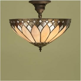 63978 Brooklyn 3 Light Semi Flush Tiffany Ceiling Light
