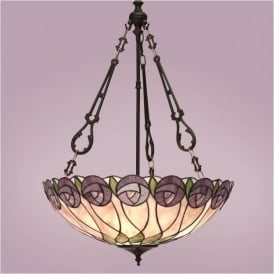 64174 Hutchinson 3 Light Large Inverted Tiffany Ceiling Pendant