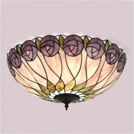 64173 Hutchinson 2 Light Tiffany Flush Ceiling Light