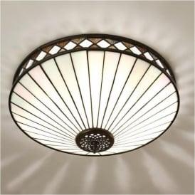 64145 Fargo 2 Light Tiffany Flush Ceiling Light