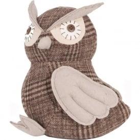 70-426 Fabric Grey/Brown Owl Doorstop