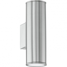 94107 Riga 2 Light LED IP44 Wall Light Stainless Steel