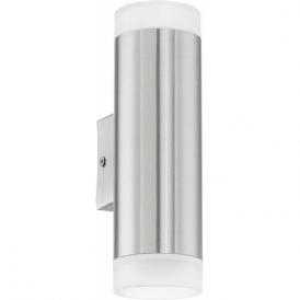 92736 Riga LED 2 Light LED IP44 Wall Light Stainless Steel