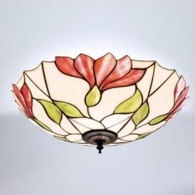 63960 Botanica 2 Light Tiffany Flush Ceiling Light