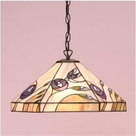 64037 Damselfly 1 Light Tiffany Ceiling Pendant
