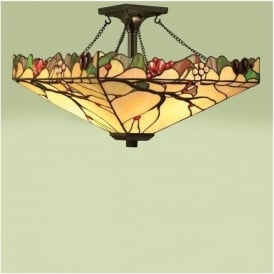 63908 Arbois 2 Light Tiffany Semi Flush Ceiling Pendant