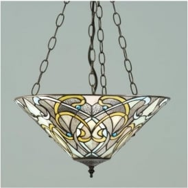 64052 Dauphine 3 Light Tiffany Inverted Ceiling Pendant
