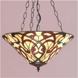 64319 Ruban 3 Light Tiffany Inverted Ceiling Pendant