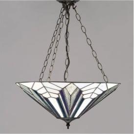 63936 Astoria 3 Light Tiffany Inverted Ceiling Pendant