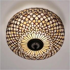 64276 Mille Feux 2 Light Tiffany Flush Ceiling Light