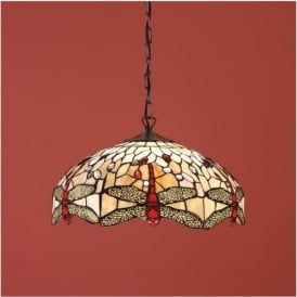 64078 Beige Dragonfly 1 Light Medium Tiffany Ceiling Pendant