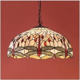 64079 Beige Dragonfly 3 Light Large Tiffany Ceiling Pendant
