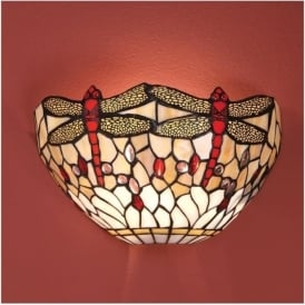 64101 Beige Dragonfly 1 Light Tiffany Wall Light