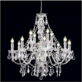 308-8+4CL Clarence 12 Light Traditional Chandelier Ceiling Pendant Light Clear Acrylic Finish