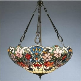 64324 Sullivan 3 Light Tiffany Inverted Ceiling Pendant