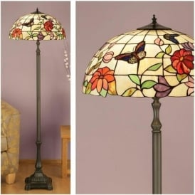 63993 Butterfly 2 Light Tiffany Floor Lamp