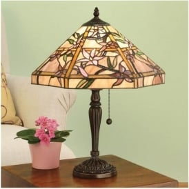 64021 Clematis 1 Light Tiffany Table Lamp