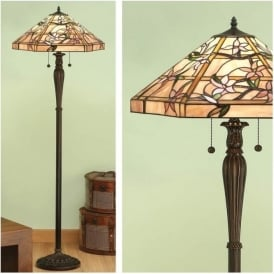 64018 Clematis 2 Light Tiffany Floor Lamp