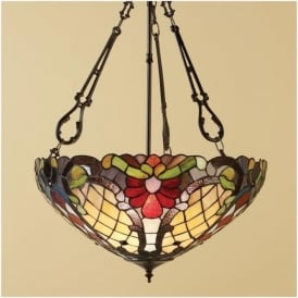 64059 Diana 3 Light Inverted Tiffany Ceiling Pendant