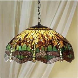 64083 Green Dragonfly 3 Light Large Tiffany Ceiling Pendant