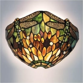64104 Green Dragonfly 1 Light Tiffany Wall Light