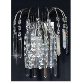 ST01700/WB/AN Shower Coffin 1 Light Crystal Wall Light Antique Nickel