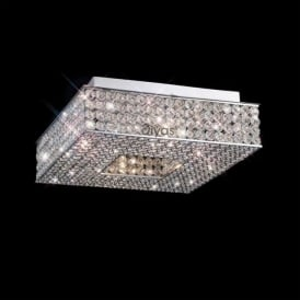 IL30431 Piazza 4 Light Crystal Flush Ceiling Light Polished Chrome