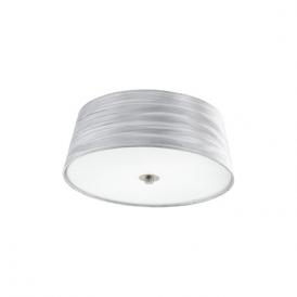 94306 Fonsea 2 Light Flushed Ceiling Light White Silver