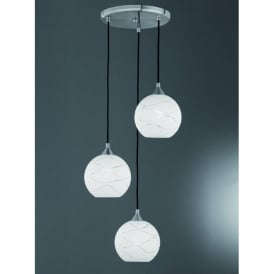 FL2356/3/983 Vetross Ice Wavy 3 Light Ceiling Pendant Satin Nickel