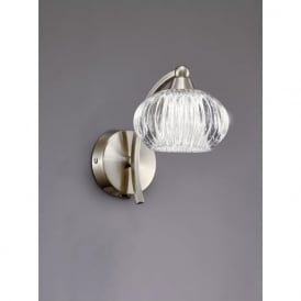 FL2335/1 Ripple 1 Light Switched Wall Light Satin Nickel