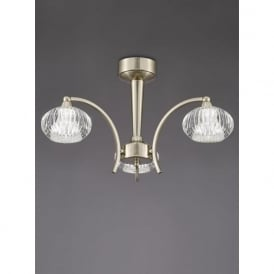 FL2335/3 Ripple 3 Light Semi-Flush Ceiling Light Satin Nickel