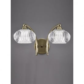 FL2336/2 Ripple 2 Light Switched Wall Light Bronze