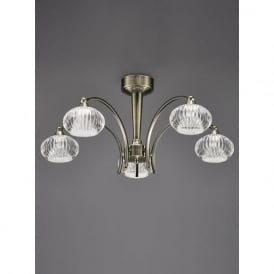 FL2336/5 Ripple 5 Light Semi-Flush Ceiling Light Bronze