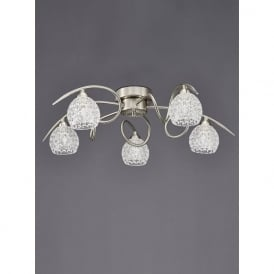 FL2347/5 Springa 5 Light Semi-Flush Ceiling Light Satin Nickel