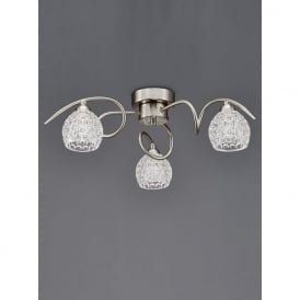 FL2347/3 Springa 3 Light Semi-Flush Ceiling Light Satin Nickel