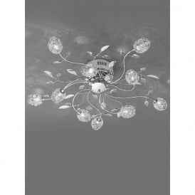 FL2210/10 Nebula 10 Light Crystal Semi-Flush Ceiling Light Polished Chrome