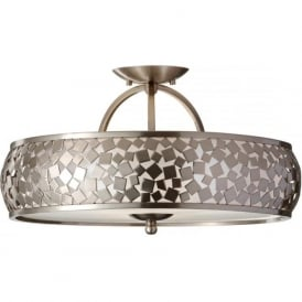 Feiss FE/ZARA/SF Zara 3 Light Ceiling Light Brushed Steel