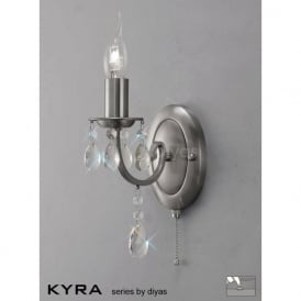 IL30971 Kyra 1 Light Crystal Switched Wall Light Satin Nickel