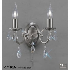 IL30972 Kyra 2 Light Crystal Switched Wall Light Satin Nickel