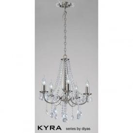 IL30975 Kyra 5 Light Crystal Ceiling Light Satin Nickel