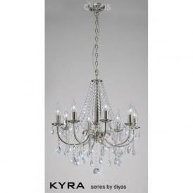 IL30978 Kyra 8 Light Crystal Ceiling Light Satin Nickel
