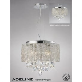 IL31160 Adeline 4 Light Crystal Ceiling Pendant Polished Chrome