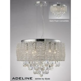 IL31161 Adeline 6 Light Crystal Ceiling Pendant Polished Chrome