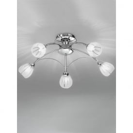 FL2206/5 Chloris 5 Light Semi-flush Ceiling Light Chrome