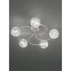 FL2327/5 Gyro 5 Light Semi-flush Ceiling Light Satin Nickel