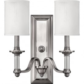 Hinkley HK/SUSSEX2 Sussex 2 Light Wall Light Brushed Nickel