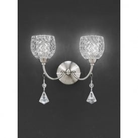 FL2292/2 Sherrie 2 Light Crystal Switched Wall Light Satin Nickel
