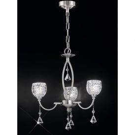 FL2292/3 Sherrie 3 Light Crystal Ceiling Light Satin Nickel