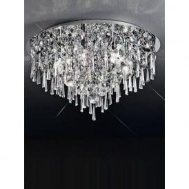 CF5718 Jazzy 6 Light Crystal Semi-flush Ceiling Light Polished Chrome