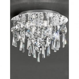 CF5719 Jazzy 4 Light Bathroom Crystal Semi-flush Ceiling Light Chrome IP44